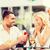 幸せ · カップル · 婚約指輪 · ワイン · カフェ · 愛 - ストックフォト © dolgachov