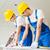 строители · счастливым · портрет · женщины · щетка · улыбаясь - Сток-фото © dolgachov