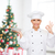 female chef with empty plate showing ok sign stock photo © dolgachov