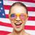 стимпанк · девушки · американский · флаг · стены · свет · флаг - Сток-фото © dolgachov