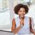 mutlu · Afrika · kadın · dizüstü · bilgisayar · ofis · iş - stok fotoğraf © dolgachov