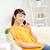счастливым · азиатских · женщину · призыв · смартфон · домой - Сток-фото © dolgachov