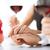 comprometido · casal · copos · de · vinho · quadro · restaurante · vinho - foto stock © dolgachov