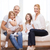 glimlachend · ouders · twee · nieuw · huis · familie - stockfoto © dolgachov