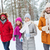 group of smiling men and women in winter forest stock photo © dolgachov
