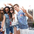 smiling hippie friends with selfie stick in london stock photo © dolgachov