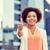 счастливым · молодые · афроамериканец · деловая · женщина · город · бизнеса - Сток-фото © dolgachov
