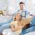 gelukkig · paar · groot · karton · dozen · nieuw · huis - stockfoto © dolgachov