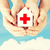 kezek · tart · papír · ház · vöröskereszt · egészségügy - stock fotó © dolgachov