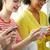 mosolyog · diákok · okostelefon · sms · chat · iskola · oktatás - stock fotó © dolgachov