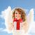 feliz · mulher · jovem · menina · adolescente · asas · de · anjo · pessoas · férias - foto stock © dolgachov