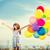 幸せな女の子 · カラフル · 風船 · 夏 · 休日 · お祝い - ストックフォト © dolgachov