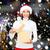 glimlachende · vrouw · helper · hoed · geschenkdoos · christmas - stockfoto © dolgachov