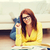 sorridere · studente · ragazza · lettura · libri · home - foto d'archivio © dolgachov