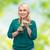 femme · potable · fraîches · smoothie · portrait · souriant - photo stock © dolgachov