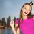 feliz · mulher · jovem · menina · adolescente · rosa · vestir · pessoas - foto stock © dolgachov