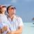 kız · plaj · kulübe · yaz · şapka · boş · açık · havada - stok fotoğraf © dolgachov