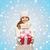 menina · feliz · seis · cachecol · luvas · caixa · de · presente · natal - foto stock © dolgachov