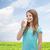 笑みを浮かべて · 少女 · ガラス · ミルク · 水玉模様 · 医療 - ストックフォト © dolgachov