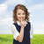 boldog · lány · mutat · kézmozdulat · emberek · gyerekek · titkolózás - stock fotó © dolgachov