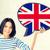 gülümseyen · kadın · metin · kabarcık · İngiliz · bayrağı · eğitim · yabancı - stok fotoğraf © dolgachov