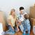 gelukkig · gezin · bewegende · nieuw · huis · spelen · bal · hypotheek - stockfoto © dolgachov