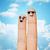twee · vingers · gezichten · familie - stockfoto © dolgachov