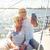 pareja · de · ancianos · toma · vela · barco · yate · vela - foto stock © dolgachov