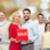 boldog · emberek · piros · vásár · felirat · mutat · remek - stock fotó © dolgachov