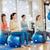 pilates · mulher · estabilidade · bola · exercer · ginásio - foto stock © dolgachov