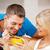 ontbijt · gelukkig · paar · vrouw · man · granen - stockfoto © dolgachov