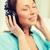 nő · zenét · hallgat · hifi · sztereó · otthon · zene - stock fotó © dolgachov