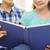 школьницы · обучения · диване · домой · книгах · ноутбука - Сток-фото © dolgachov