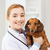mulher · veterinário · cão · bela · mulher · veterinário - foto stock © dolgachov