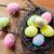 goud · eieren · nest · drie · geschilderd - stockfoto © dolgachov