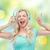 musique · amusement · adolescente · chanter · casque - photo stock © dolgachov