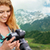 természetjáró · lány · néz · fotó · kamera · ázsiai - stock fotó © dolgachov