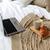 laptop · koffie · croissant · bed · gezellig · home - stockfoto © dolgachov