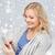 femme · souriante · messagerie · smartphone · ligne - photo stock © dolgachov