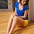 привлекательный · женщины · сидят · полу · глядя - Сток-фото © dolgachov