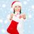 mooie · jonge · vrouw · kerstman · kleding · sneeuwvlokken · Blauw - stockfoto © dolgachov