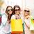 három · mosolyog · lányok · bevásárlótáskák · vásárlás · vásár - stock fotó © dolgachov