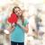 mooie · tienermeisje · groot · Rood · hart - stockfoto © dolgachov