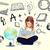 lány · földgömb · könyv · oktatás · iskola · kicsi - stock fotó © dolgachov