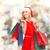 nő · mikulás · segítő · kalap · bevásárlótáskák · vásár - stock fotó © dolgachov