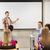 grupo · estudiantes · sonriendo · maestro · aula · educación - foto stock © dolgachov