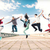 grupo · adolescentes · saltando · verão · esportes · dança - foto stock © dolgachov