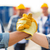 close up of builders hands making handshake stock photo © dolgachov