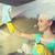 счастливым · женщину · очистки · окна · ткань · спрей - Сток-фото © dolgachov