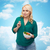 smiling young woman eating vegetable salad stock photo © dolgachov